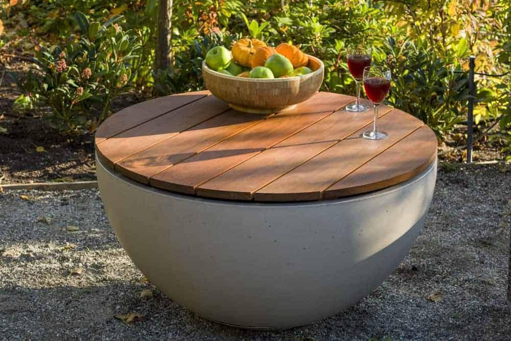 Captivating Solus Hemi Firepit IPE Wood Table Top