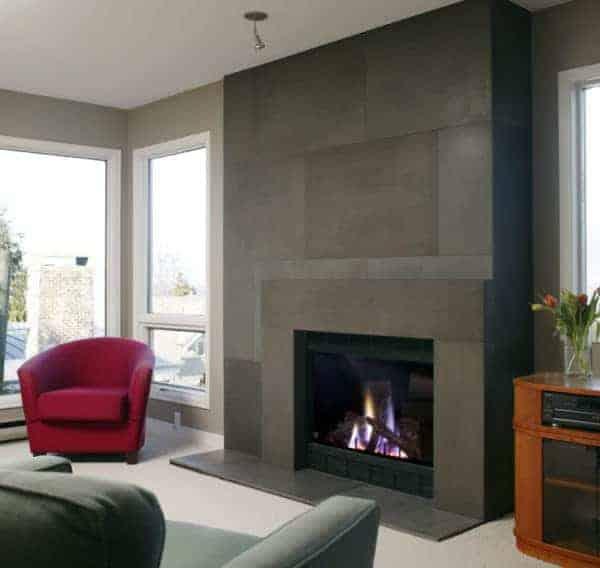 Solus Span cast concrete fireplace surround